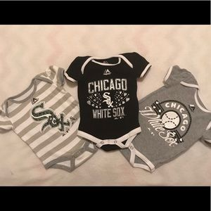 MBL One Pieces - Infant Girl White Sox Onesies Set